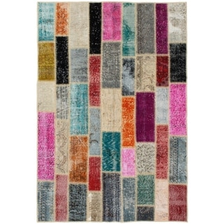 eCarpetGallery  Hand-knotted Color Transition Patch Grey Wool Rug - 4'8 x 6'11