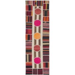 eCarpetGallery  Flat-weave Anatolia Patch Brown, Cream Wool Kilim - 3'3 x 10'10