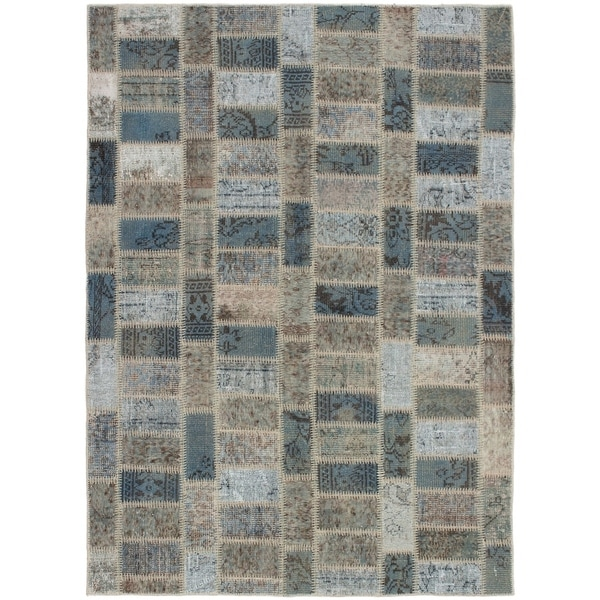 eCarpetGallery Hand-knotted Color Transition Patch Brown, Wool Rug - 5'9 x 7'7