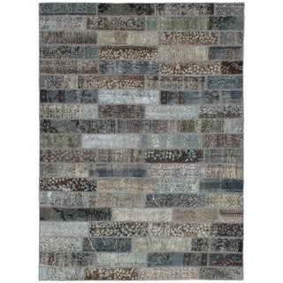 eCarpetGallery  Hand-knotted Color Transition Patch Grey Wool Rug - 5'7 x 7'7