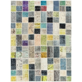 eCarpetGallery  Hand-knotted Color Transition Patch Grey,Wool Rug - 4'10 x 6'7