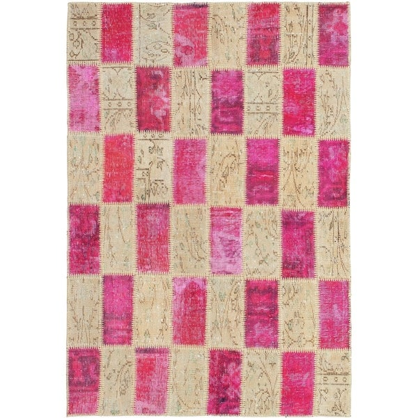 eCarpetGallery Hand-knotted Color Transition Patch Pink, Wool Rug - 4'4 x 6'4