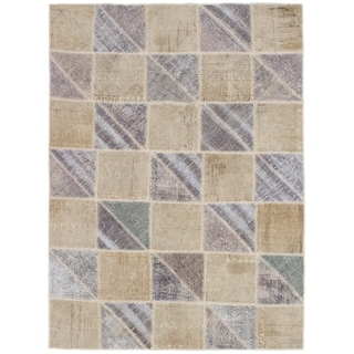 eCarpetGallery  Hand-knotted Color Transition Patch Grey, Wool Rug - 4'9 x 6'6