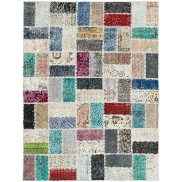 eCarpetGallery Hand-knotted Color Transition Patch Grey Wool Rug - 4'10 x 6'7