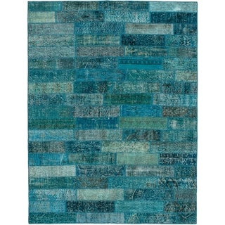 eCarpetGallery  Hand-knotted Color Transition Patch Turquoise Wool Rug - 5'7 x 7'7