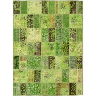 eCarpetGallery  Hand-knotted Color Transition Patch Green Wool Rug - 4'10 x 6'8