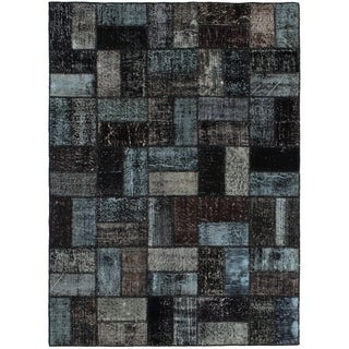 eCarpetGallery  Hand-knotted Color Transition Patch Black Wool Rug - 4'10 x 6'8
