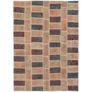 eCarpetGallery  Hand-knotted Color Transition Patch Salmon Wool Rug - 4'7 x 6'5