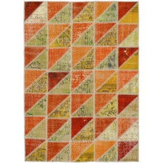 eCarpetGallery Hand-knotted Color Transition Patch Khaki, Wool Rug - 4'10 x 6'11