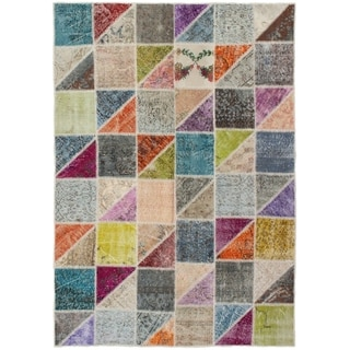eCarpetGallery  Hand-knotted Color Transition Patch Grey Wool Rug - 5'4 x 7'8