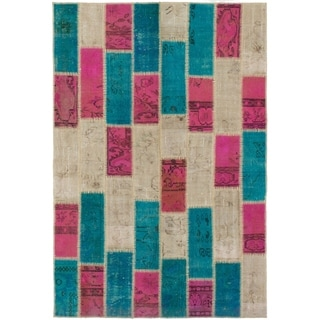 eCarpetGallery  Hand-knotted Color Transition Patch Pink, Wool Rug - 4'10 x 7'2