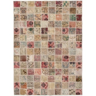 eCarpetGallery  Hand-knotted Color Transition Patch Khaki, Wool Rug - 4'9 x 6'7