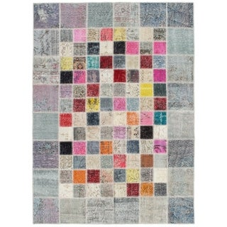 eCarpetGallery  Hand-knotted Color Transition Patch Grey Wool Rug - 5'8 x 7'9
