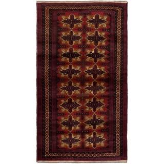 eCarpetGallery  Hand-knotted Rizbaft Dark Copper, Dark Red Wool Rug - 3'5 x 6'5