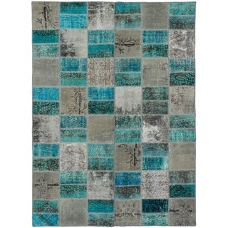 eCarpetGallery  Hand-knotted Color Transition Patch Grey, Wool Rug - 5'7 x 7'8