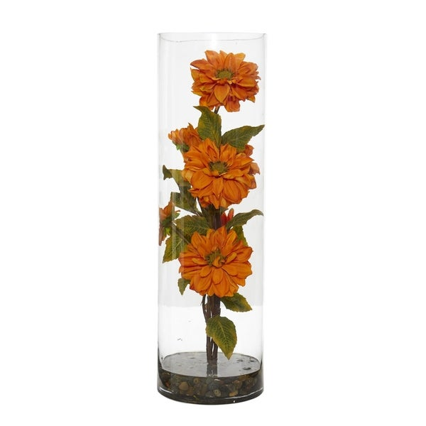 Nearly Natural Zinnia Orange/Green Artificial Arrangement in Glass Cylinder Vase
