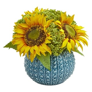 Nearly Natural Sunflower Artificial Arrangement in Blue Vase