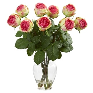 Nearly Natural Pink 19-inch Rose Artificial Arrangement in Glass Vase