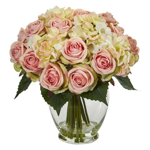 Nearly Natural Rose and Hydrangea Bouquet Artificial Arrangement