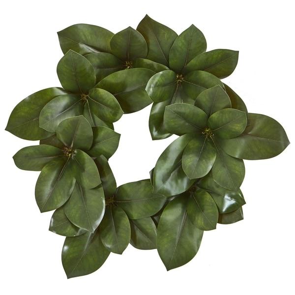 "22"" Magnolia Leaf Artificial Wreath"