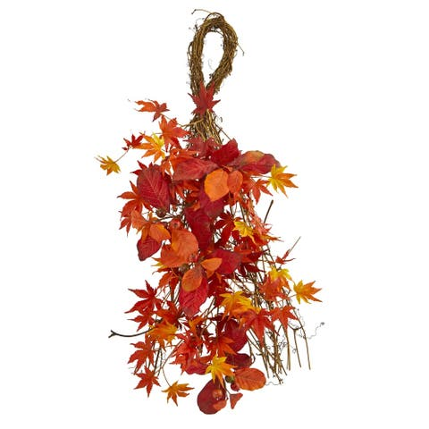 """26"""" Mixed Japanese Maple, Magnolia Leaf and Berries Artificial Teardrop"""