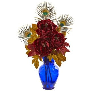 Nearly Natural Peony in Blue Vase Artificial Arrangement