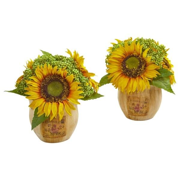 Nearly Natural Sunflower Artificial Arrangement (Set of 2)