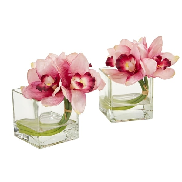 Nearly Natural Cymbidium Orchid Artificial Arrangement in Glass Vase (Set of 2)