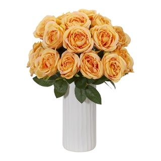 Nearly Natural Artificial Rose Arrangement in White Ceramic Vase