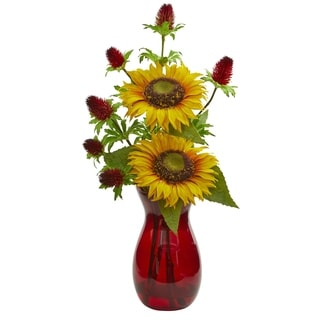 Nearly Natural Sunflower and Thistle Artificial Arrangement in Red Vase