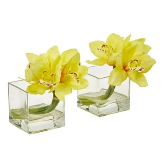 Nearly Natural Cymbidium Orchid Artificial Arrangement (Set of 2)