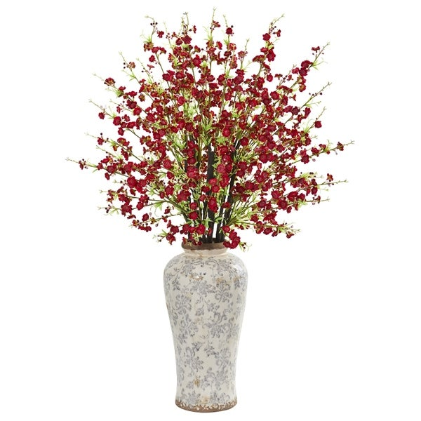 Nearly Natural Cherry Blossom Artificial Arrangement in Decorative Vase