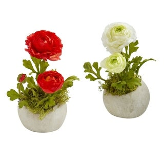 Nearly Natural Ranunculus Artificial Arrangement (Set of 2)