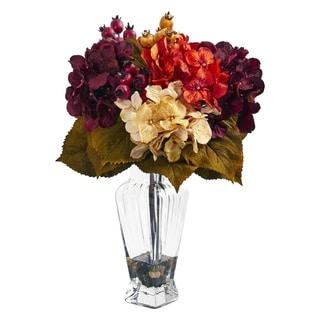 Nearly Natural Autumn Hydrangea Berry Artificial Arrangement in Glass Vase
