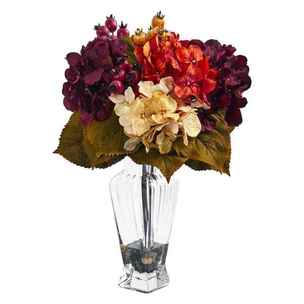 Nearly Natural Autumn Hydrangea Berry Artificial Arrangement in Glass Vase