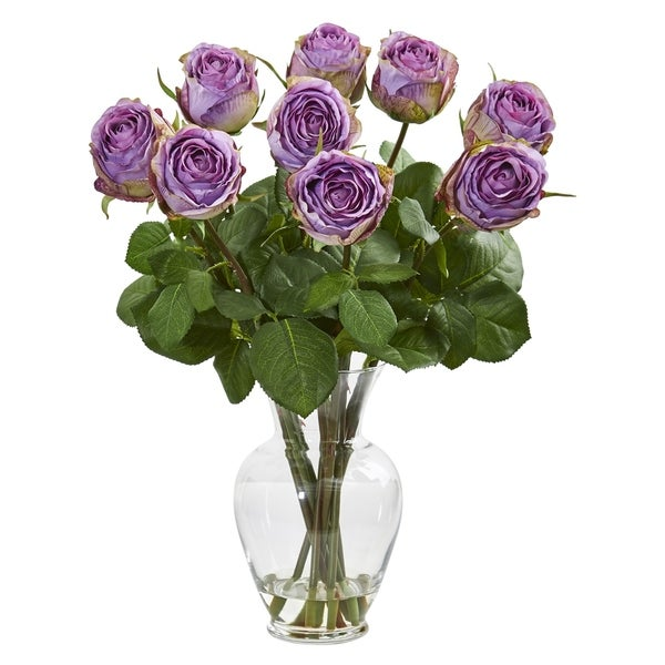 Nearly Natural Purple/ Green 19-inch Artificial Rose Arrangement in Glass Vase