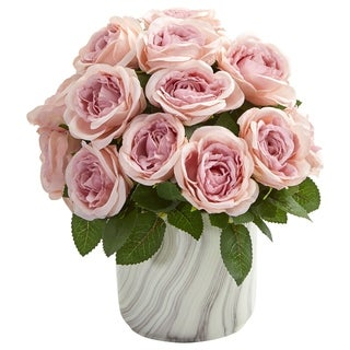 Nearly Natural Rose Artificial Arrangement in Marble-finish Vase