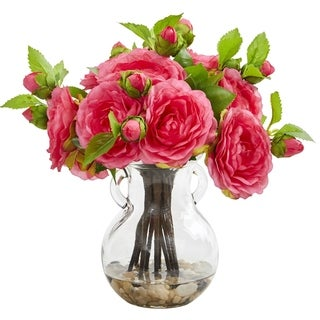 Nearly Natural Camellia Artificial Arrangement in Vase