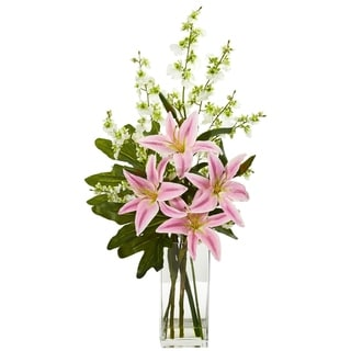 Nearly Natural Pink Lily and Dancing Lady Orchid Artificial Arrangement