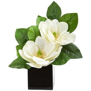 Nearly Natural Magnolia Artificial Arrangement in Black Vase