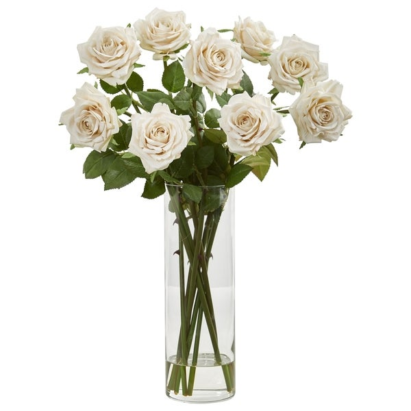 Nearly Natural White Rose Artificial Arrangement in Glass Cylinder Vase