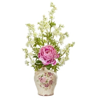 Nearly Natural Peony and Dancing Daisy Artificial Arrangement
