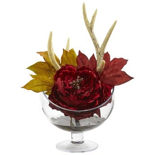 Nearly Natural Artificial Peony Arrangement in Pedestal Glass Vase