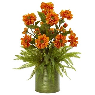 Nearly Natural Zinnia and Fern Artificial Arrangement in Metal Planter