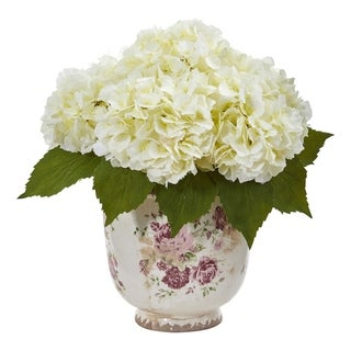 Nearly Natural Giant Hydrangea Artificial Arrangement in Floral Printed Vase