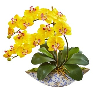 Nearly Natural Phalaenopsis Orchid Artificial Flower Arrangement in Blue/White Ceramic Vase
