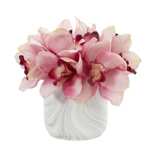 Nearly Natural Cymbidium Orchid Artificial Arrangement in Marble Vase