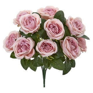Nearly Natural 14-inch Rose Bush Artificial Flower (Set of 6)