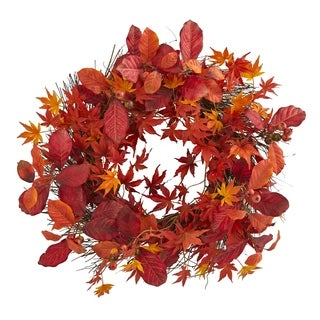 """22"""" Japanese Maple, Magnolia Leaf and Berries Artificial Wreath"""