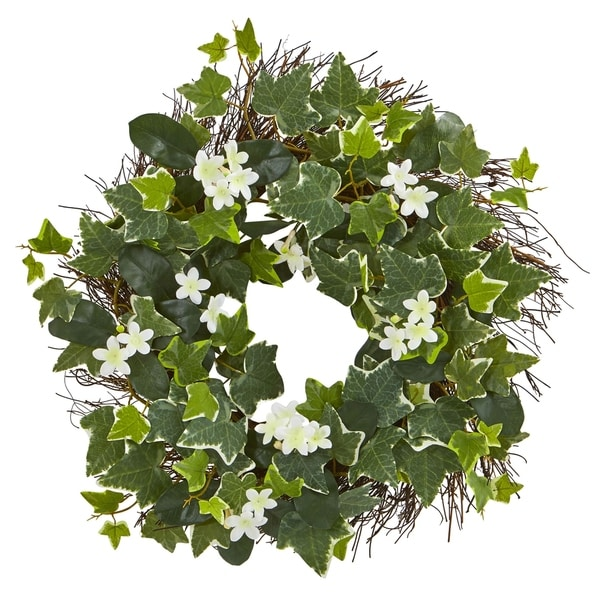 """20"""" Variegated Sage Ivy and Stephanotis Artificial Wreath. Opens flyout."""